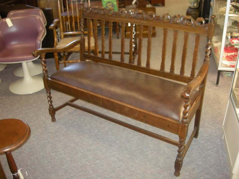 1920s oak barley twist settee