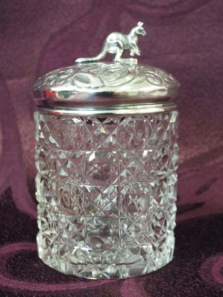 Hobnail glass container with silver kangaroo lid