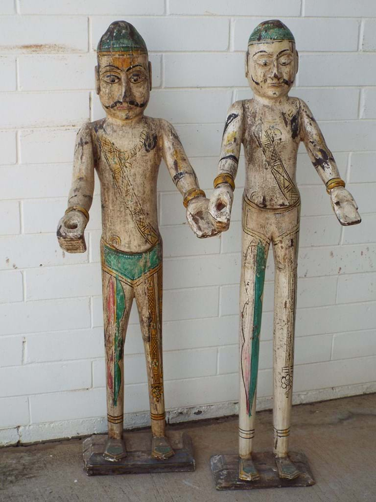 Tall pair Indian carved wooden figures