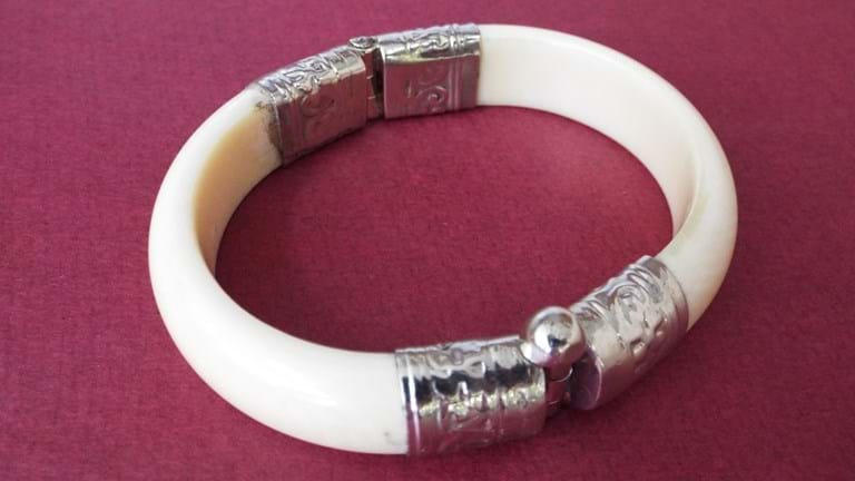 Indian ivory and silver bracelet