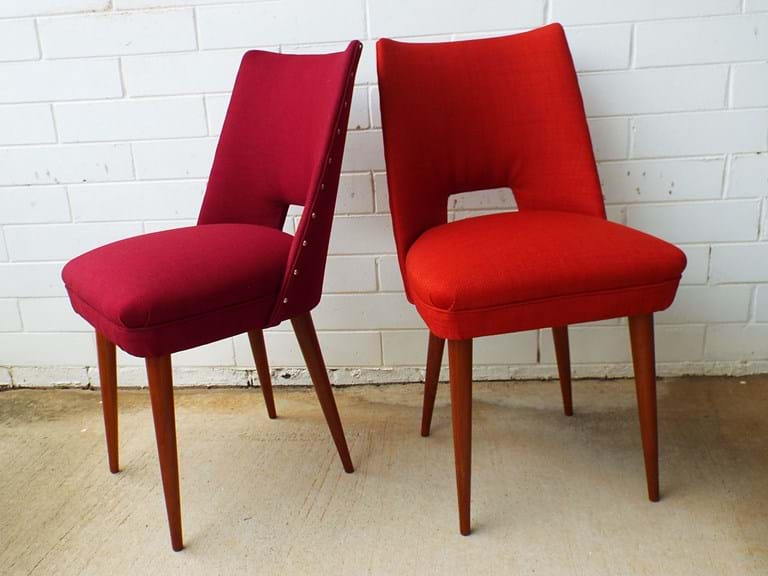 1950s pair upholstered timber side/dining chairs