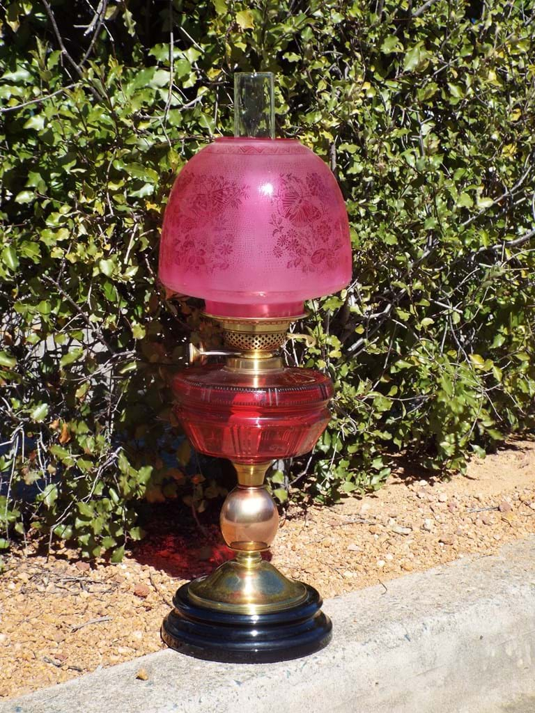 c1900 Ruby glass double burner table lamp