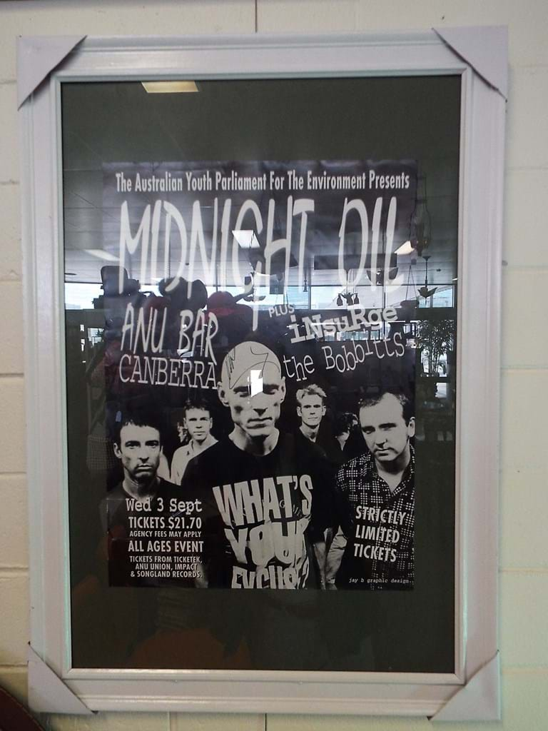 1990s Midnight Oil advertising poster signed Peter Garrett