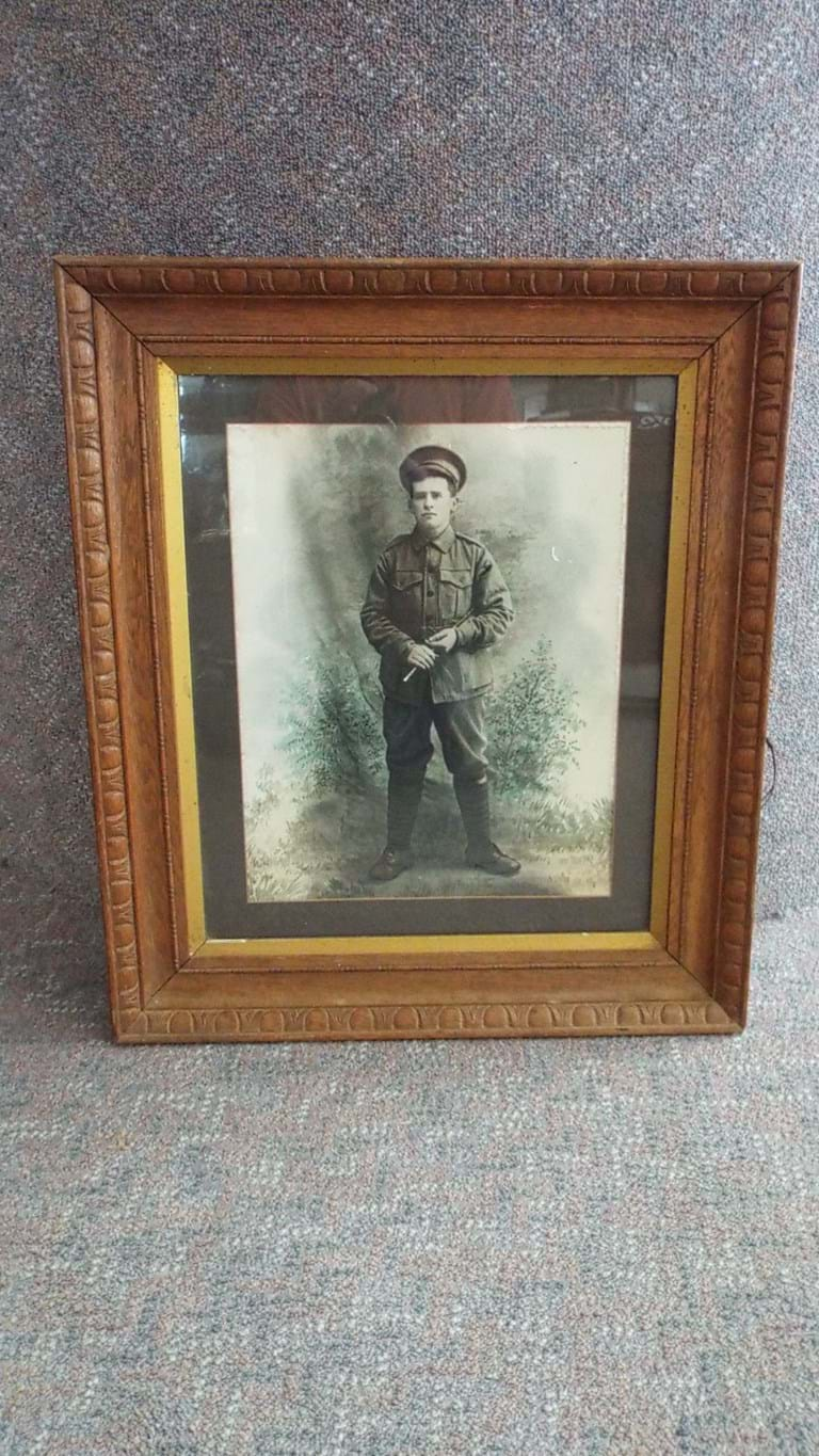 Framed photograph of WWI soldier
