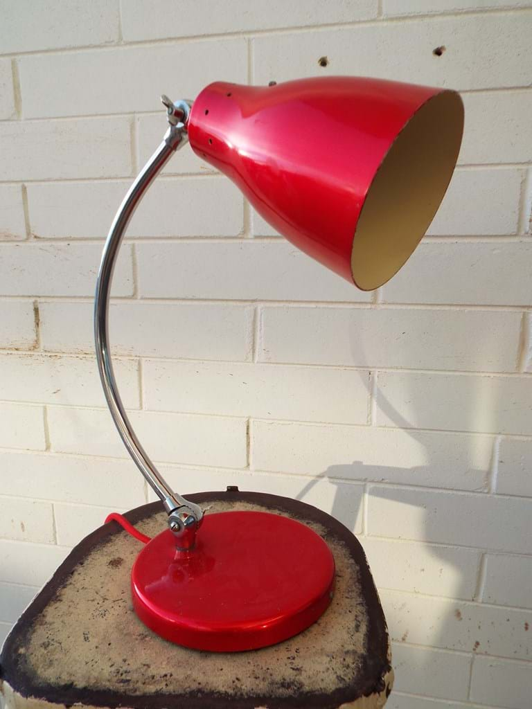 1950s A.G.E. desk lamp red spun laquer