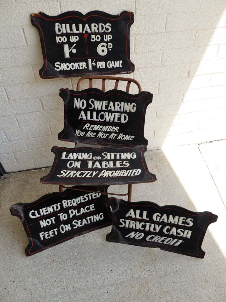 Hand painted gaming hall signs