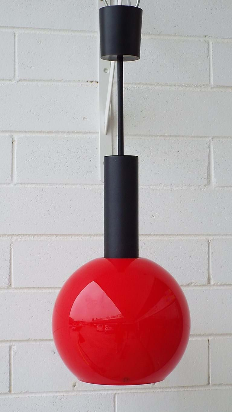 1970s cased glass pendant light fitting by Putzler, West Germany