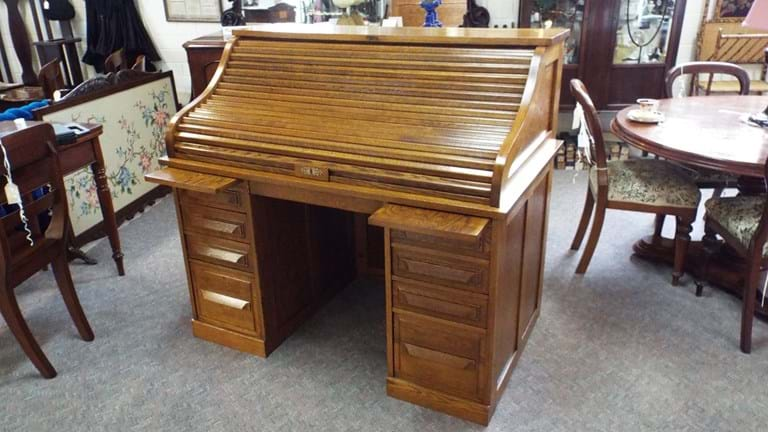 Cutler roll top oak desk. Antique Furniture for the Study Office   Canberra Antiques Centre