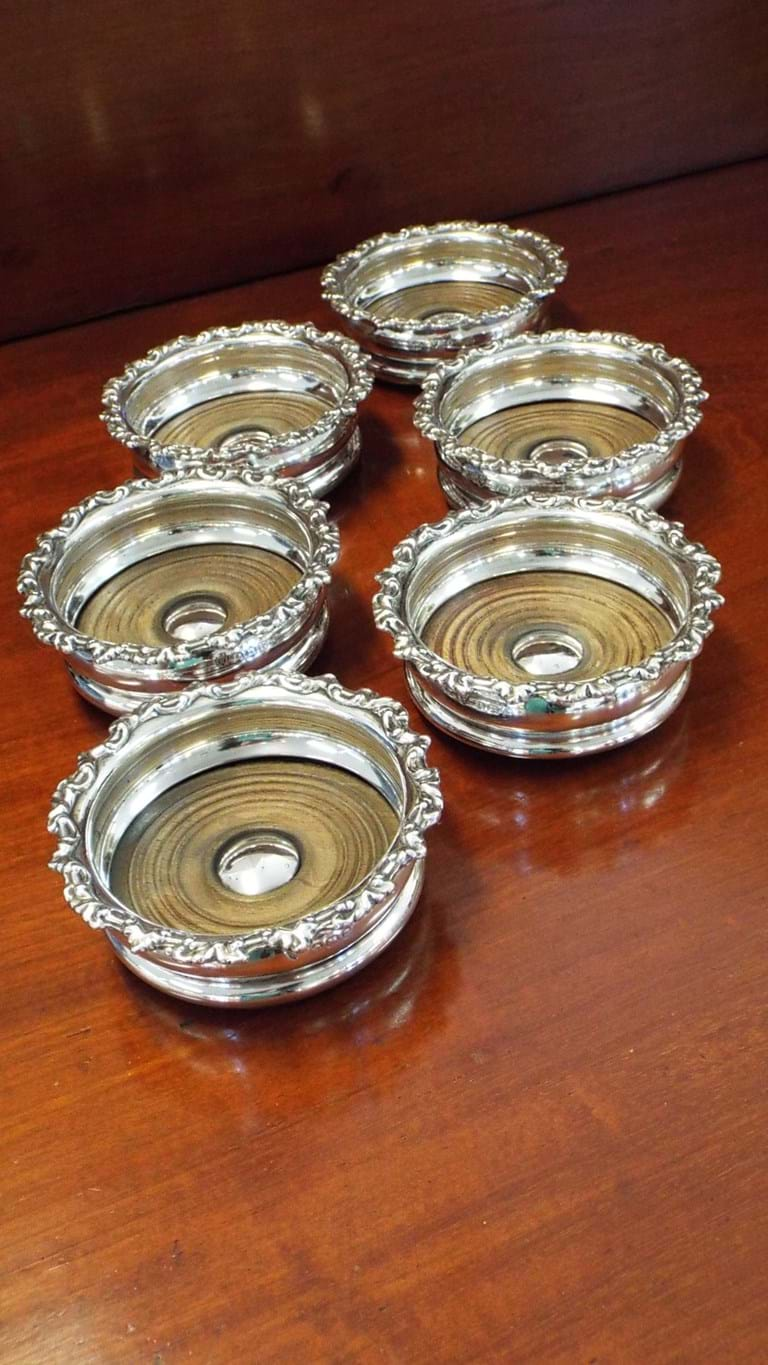 Geo V set six sterling silver oak wine glass coasters