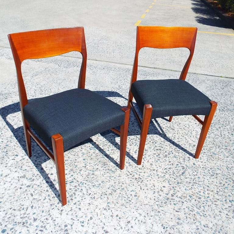 Set four T H Brown dining chairs