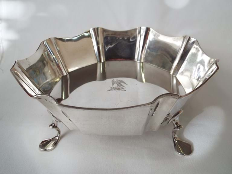 Edwardian silver four footed bowl