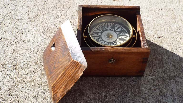 WWII era cased gimbal compass