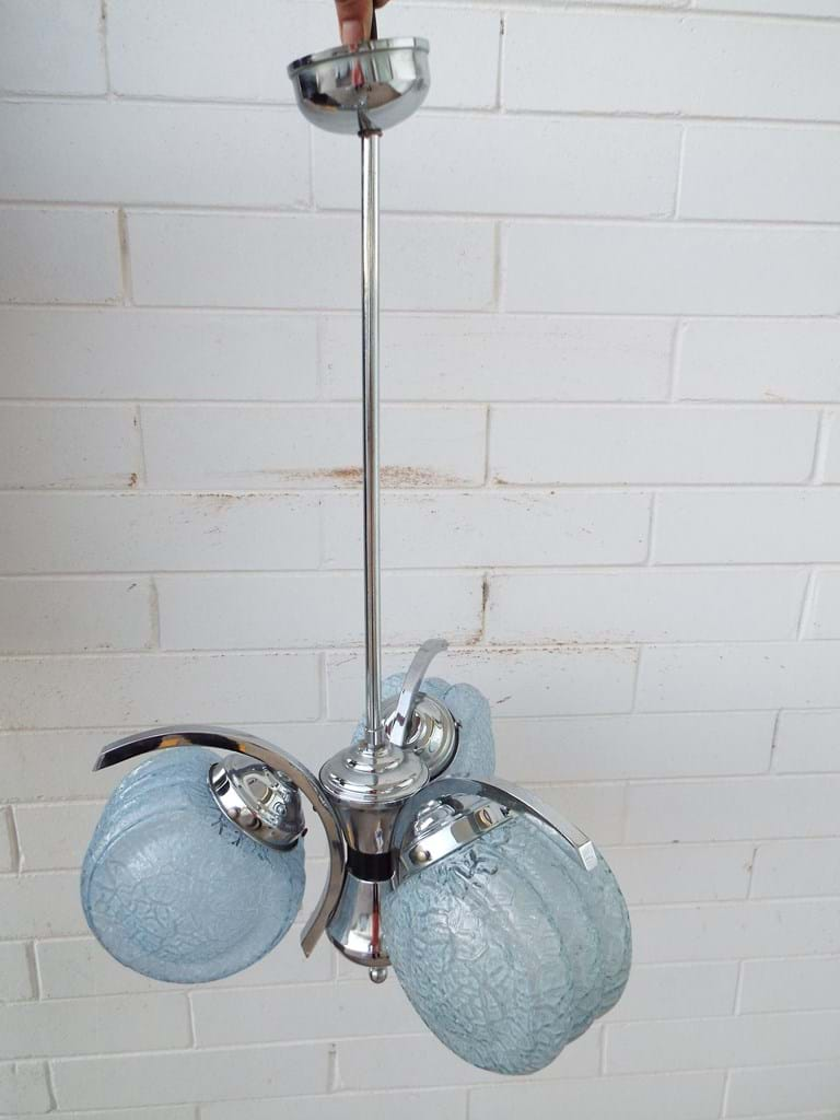 1950s pendant chrome and glass light fitting