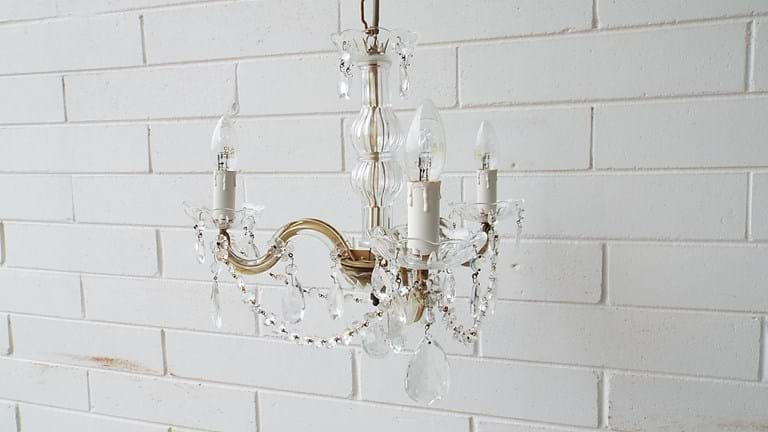 Three arm crystal chandelier