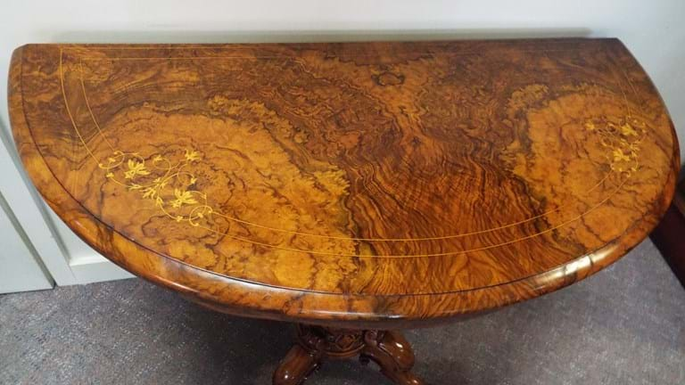 Victorian burr walnut games table