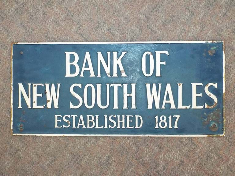 Bank Of New South Wales cast brass sign
