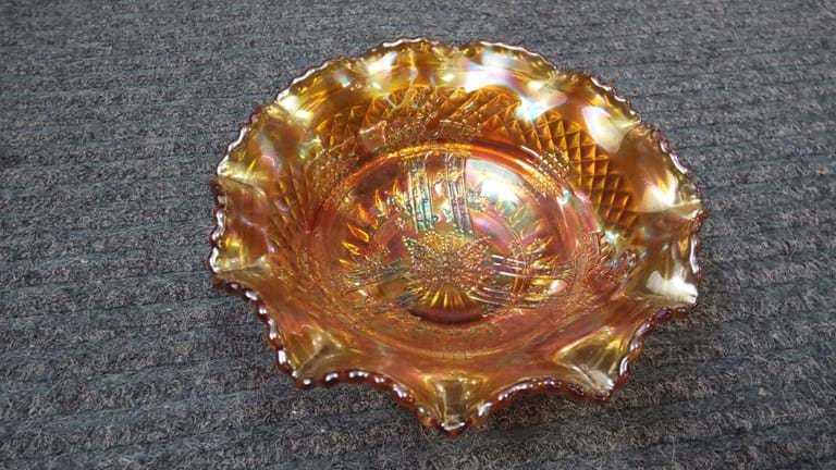 Australian marigold carnival glass Butterfly Bower bowl