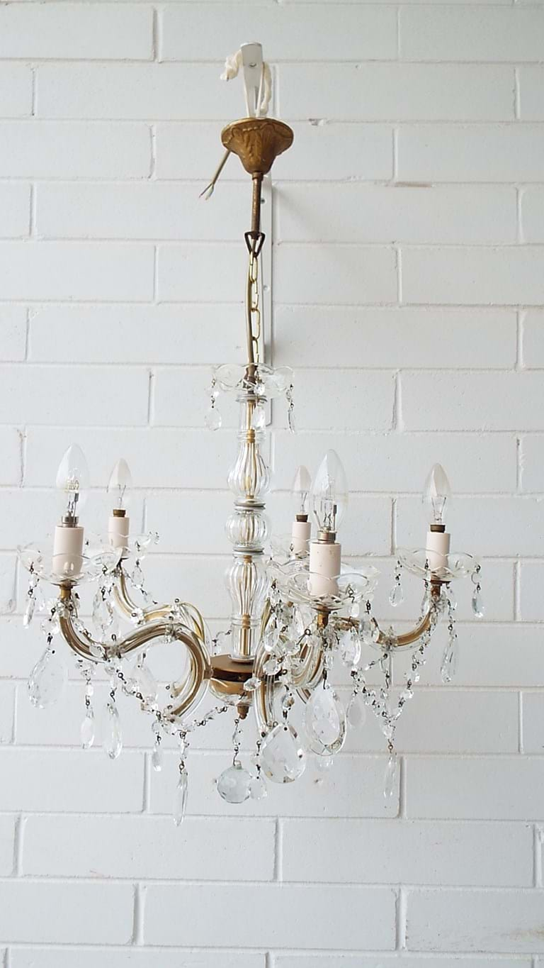 Five arm crystal chandelier