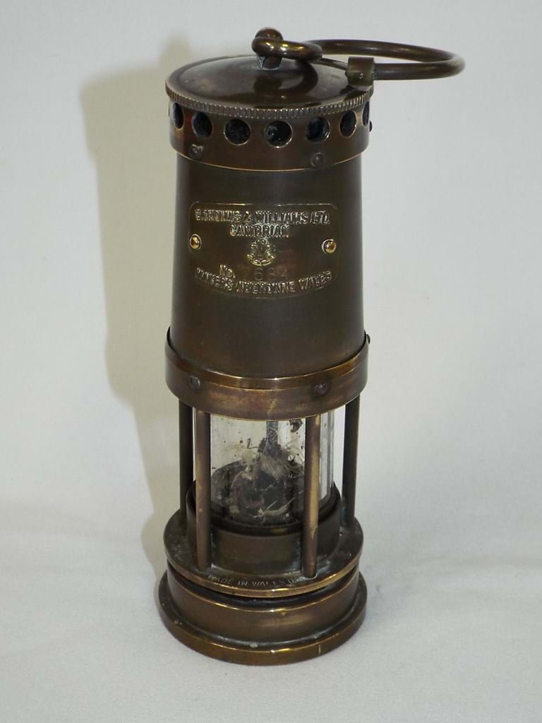 Antique brass miners lamp