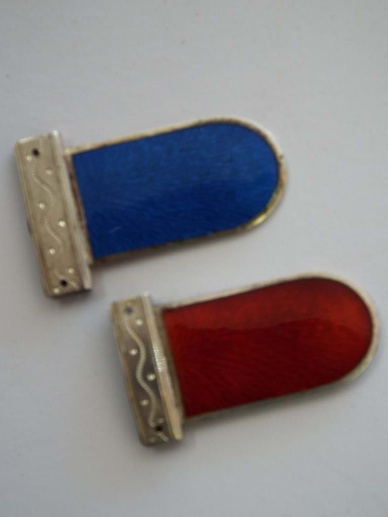 Pair French sterling silver enamel bookmarks