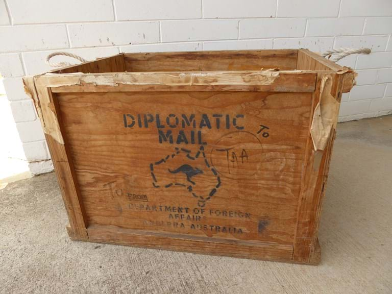 1960s airline mail crate Australian Diplomatic mail