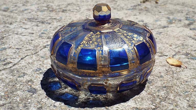 c1920s Moser (Czechoslovakia) glass trinket jar
