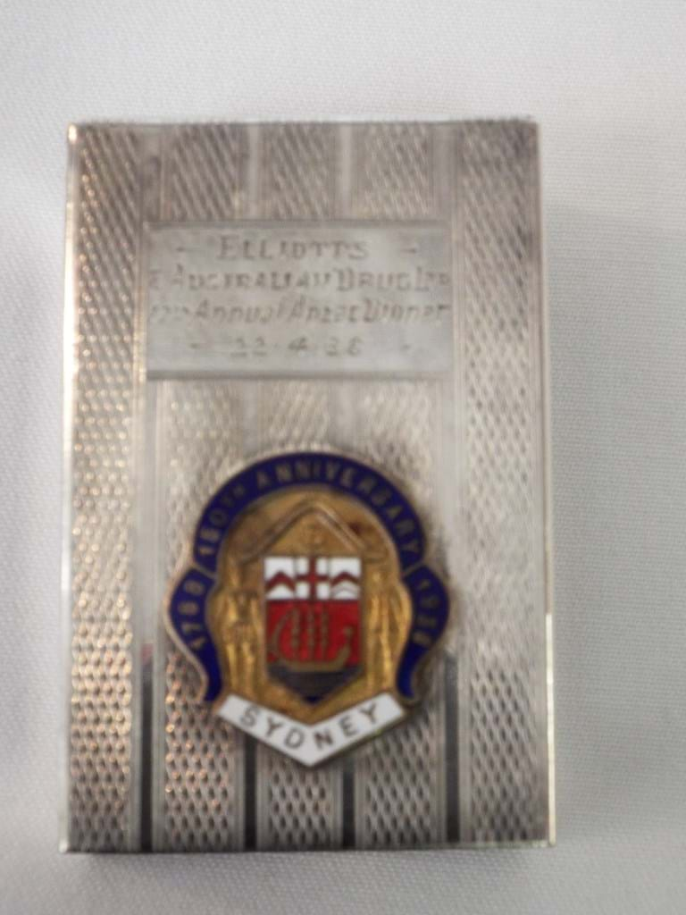 Silver plate Anzac related matchbox holder