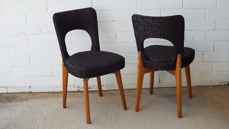 Set six 1950s dining chairs