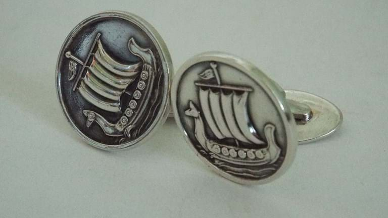 Pair Danish silver Viking ship cufflinks