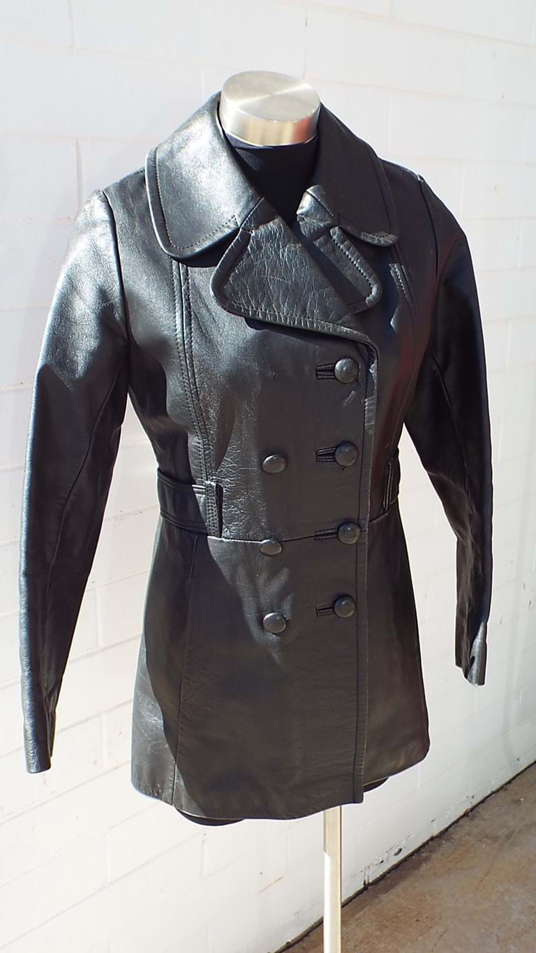 1960s ladies black leather peacoat