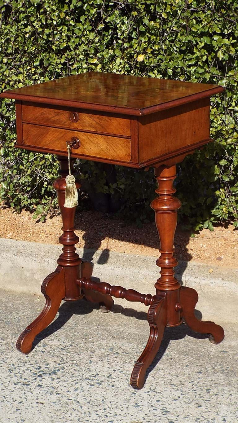 Victorian walnut sewing/work table