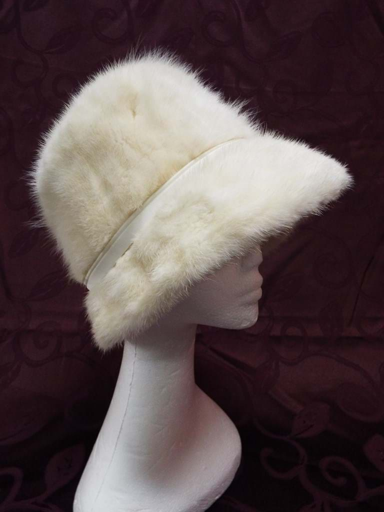1960s white mink hat