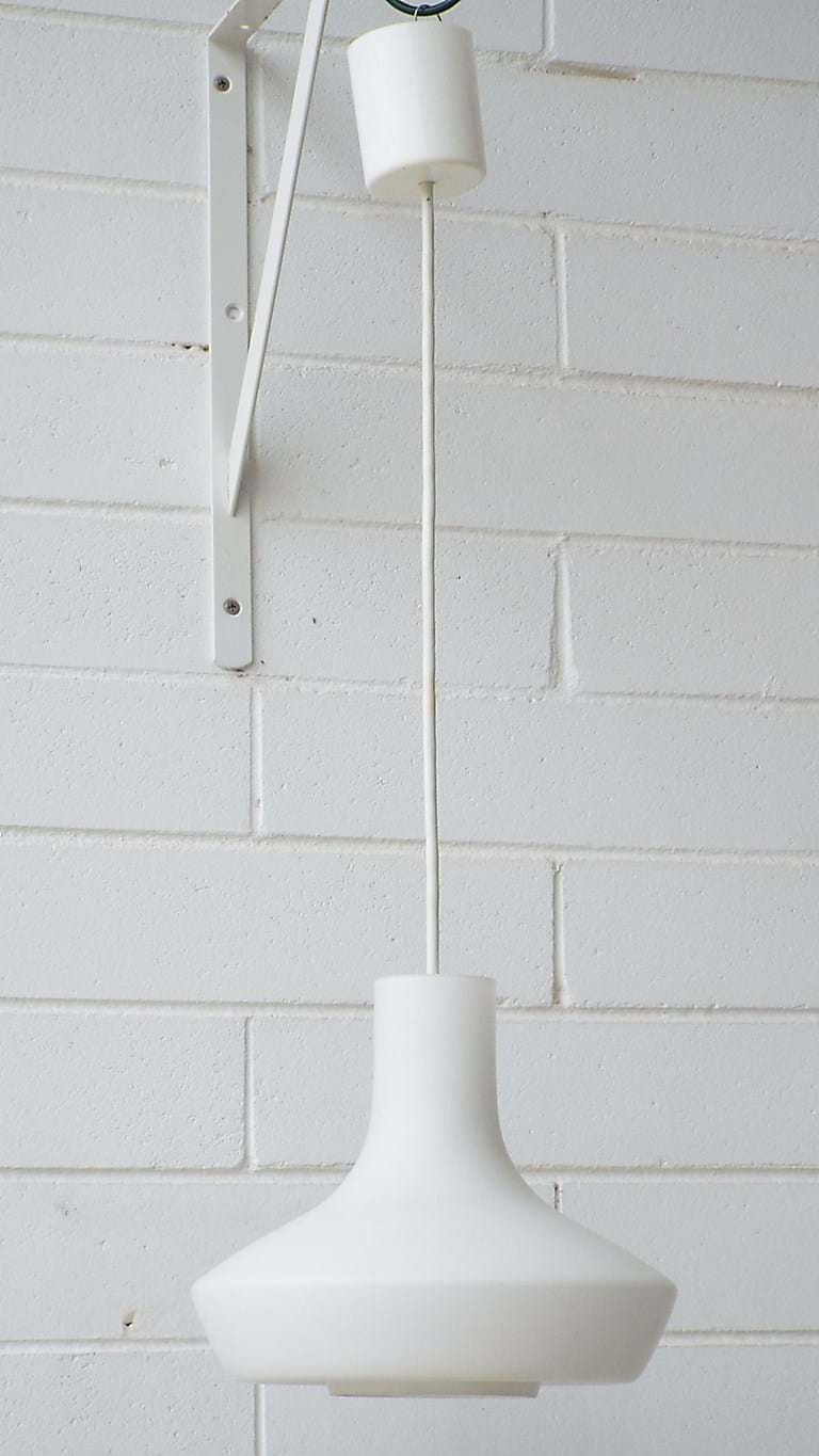 1970s suspension satin white light fitting