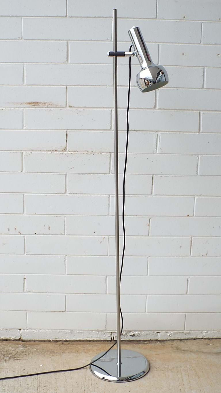 1970s single shade chrome floor lamp