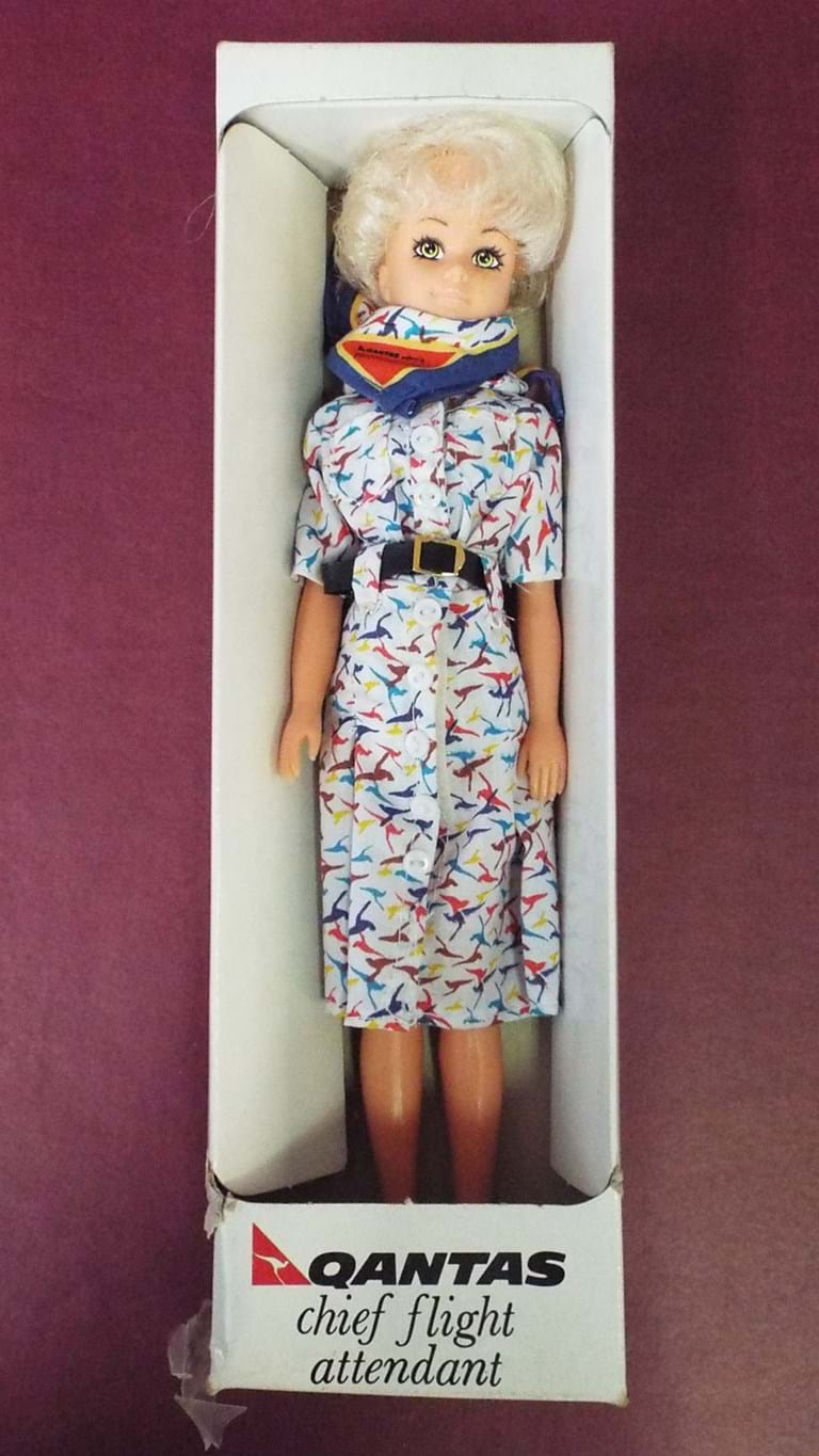 1980s Qantas flight attendant doll
