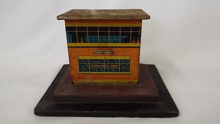 Railway tin toy signalman tower