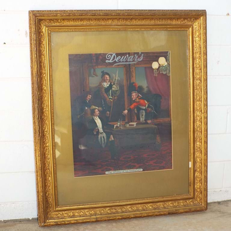 1920s Dewars and Sons Whisky advertising poster original Dewars frame