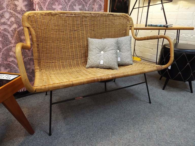 Reedtex woven cane two seater lounge