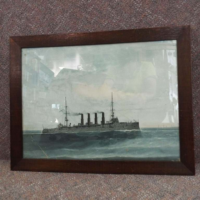 Pre WWI oil painting Russian cruiser