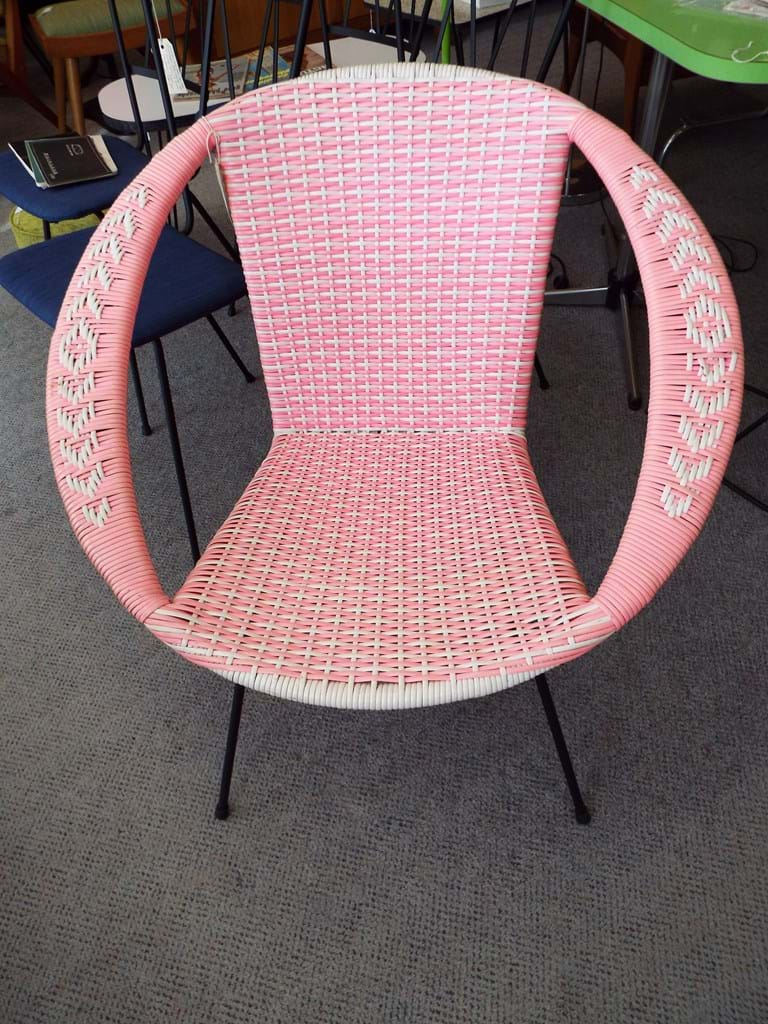 1960s hot pink plastic weave saucer chair WITH ARMS