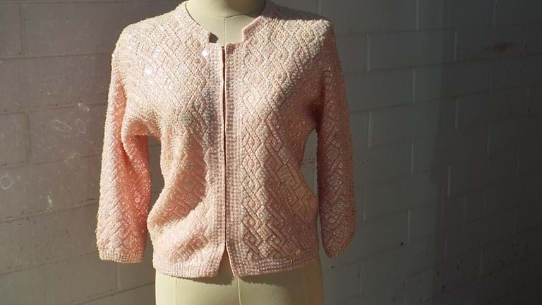 1950s pink wool beaded cardigan