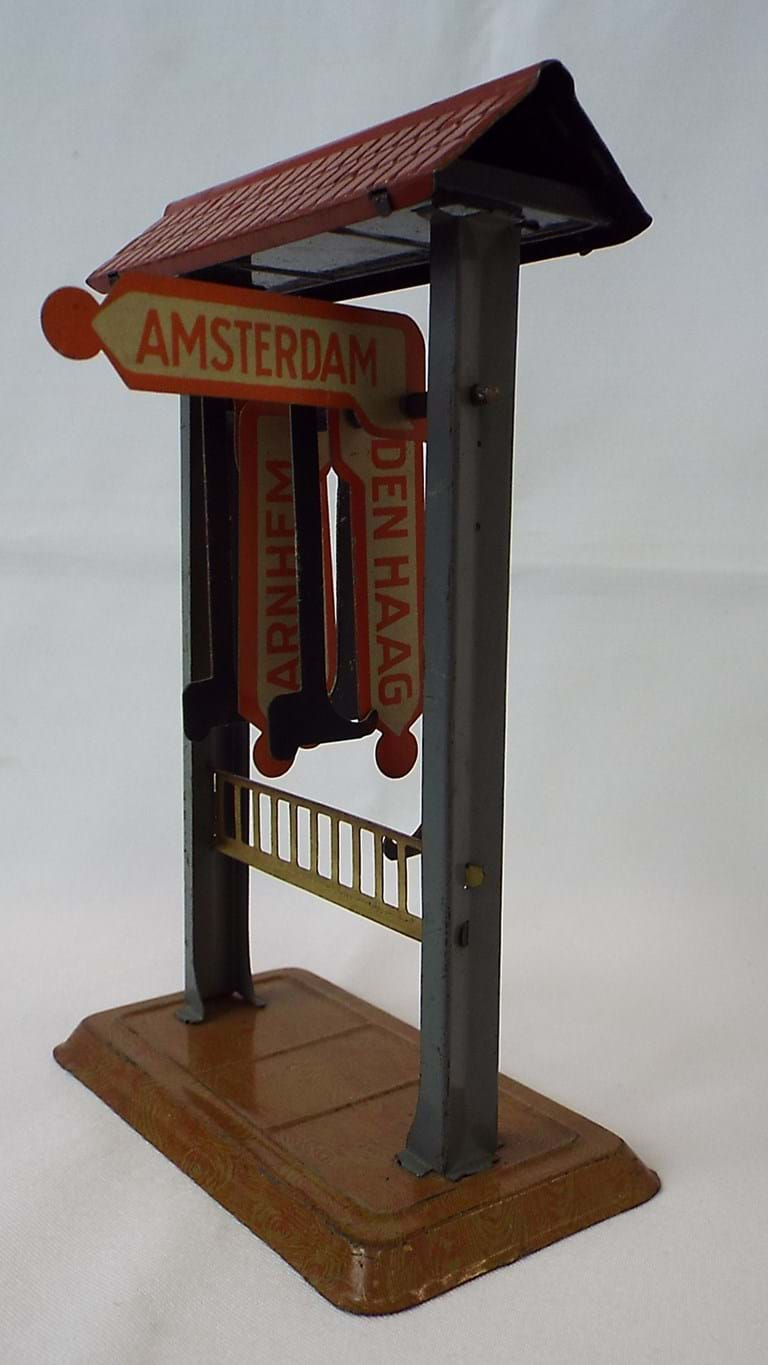Dutch tin toy railway sign