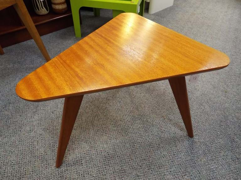 1950s timber triangular side table