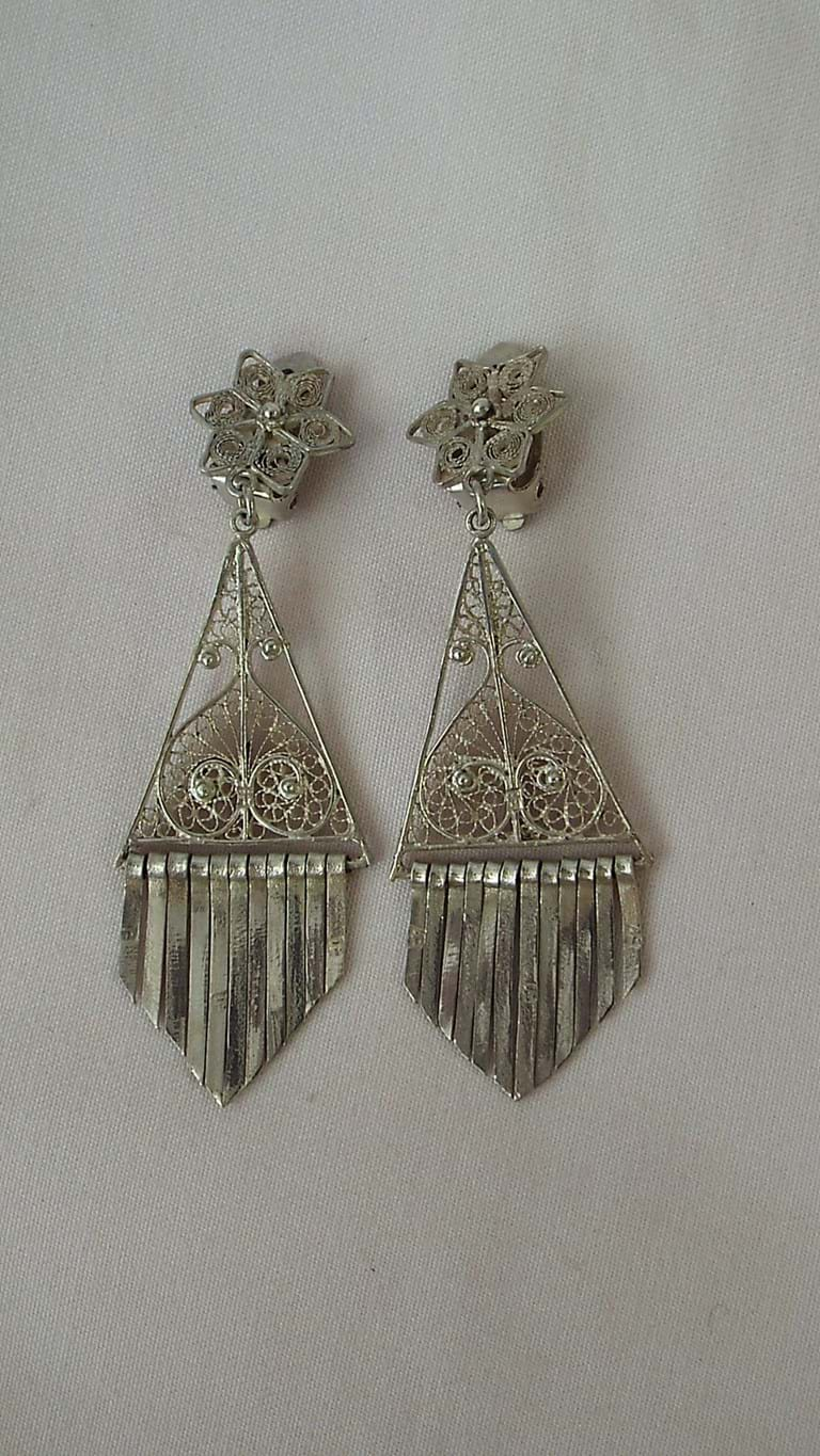 Pair Persian silver filigree earrings