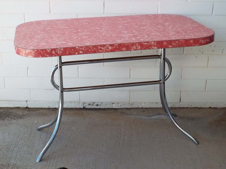 1950s dining/kitchen table, Red Pearl Laminex top