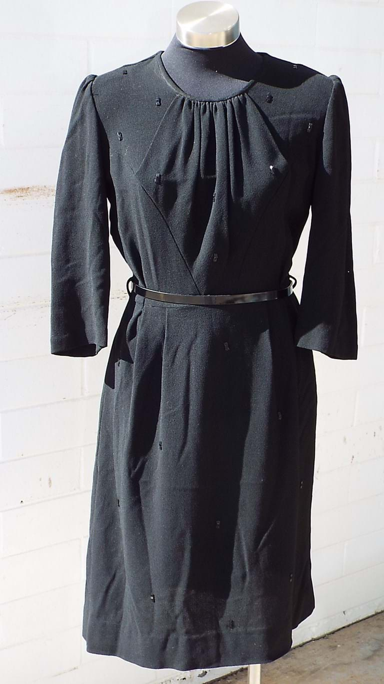 1950s black wool crepe dress