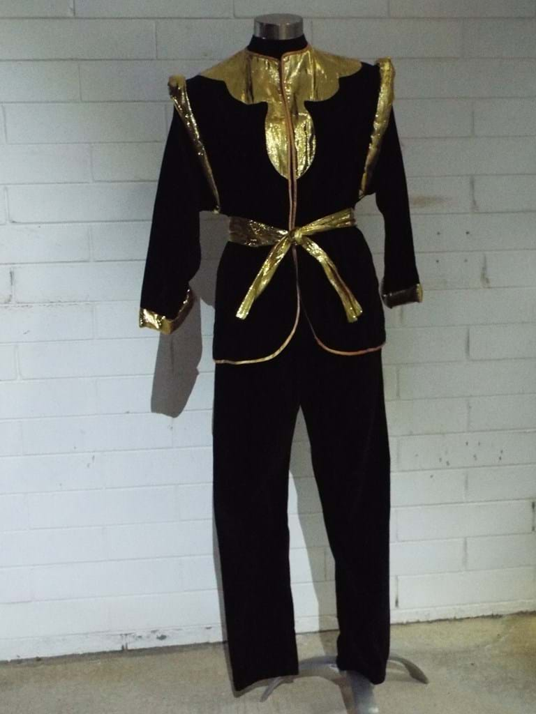 1980s two piece velvet and gold