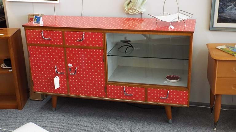 1950s red laminate sideboard