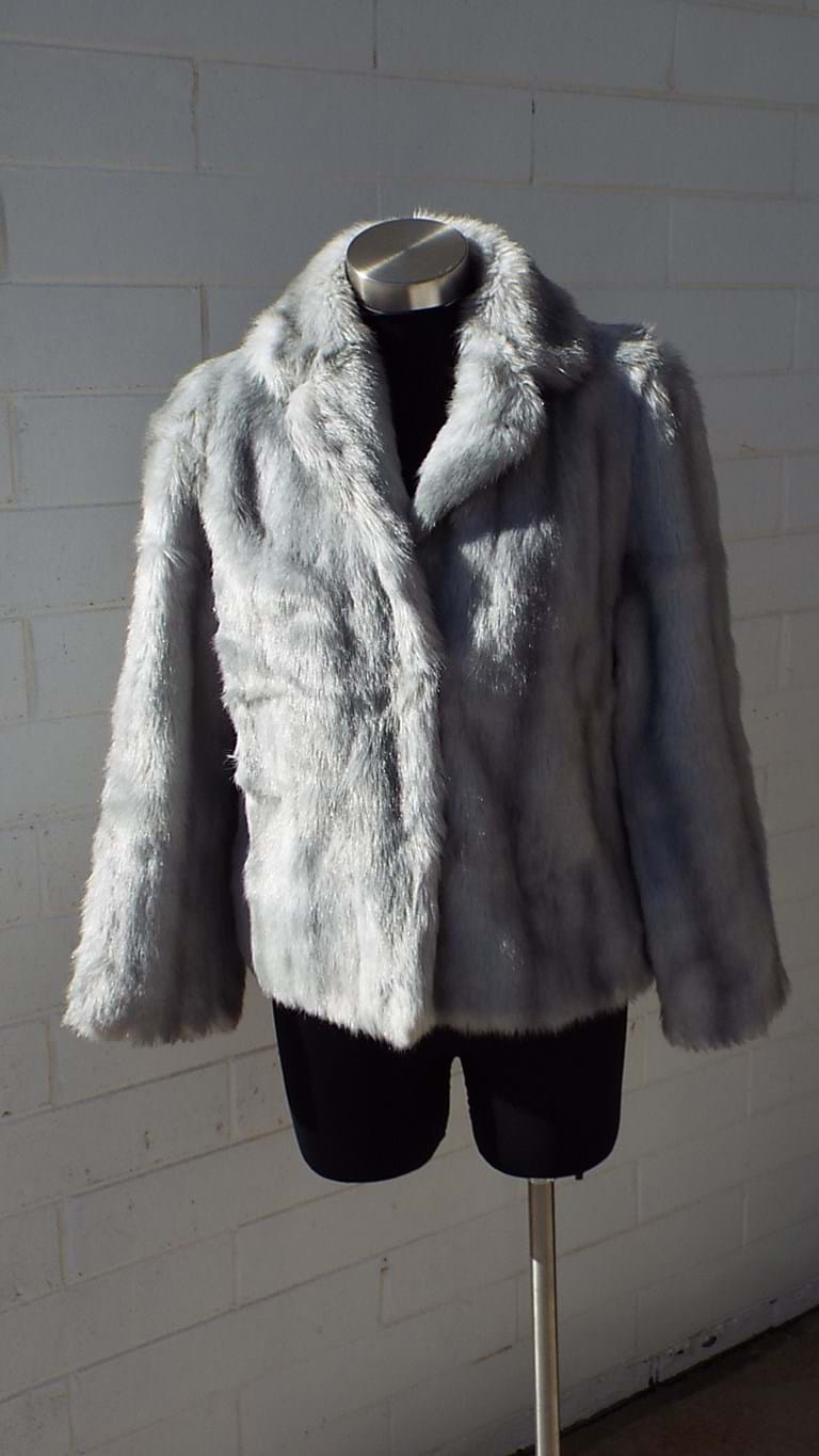 1970s grey faux fur jacket