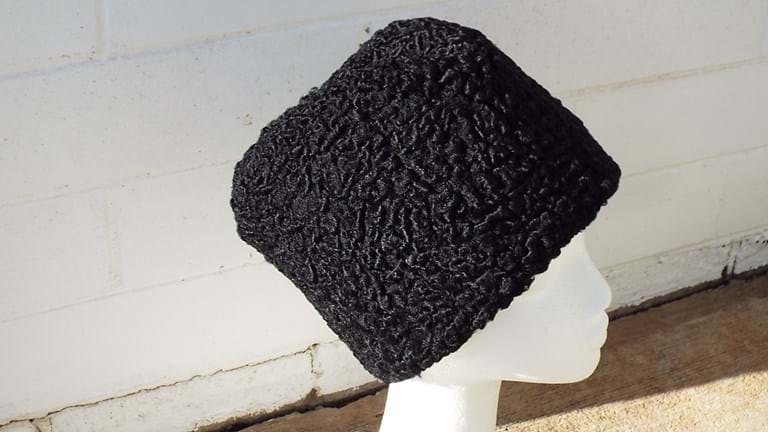 Russian black astrakhan/Persian lamb hat